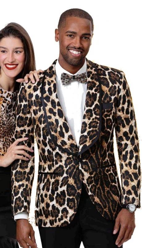 EJ Samuel J62 ( 1pc Mens Fashion Blazer With Black Trim Lapel And Leopard Design )