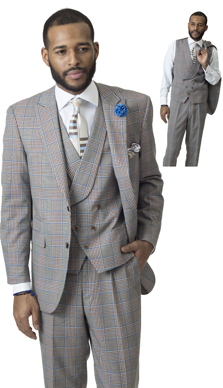 EJ Samuel M2710-IH ( 3pc Mens Fashion Suit, Super 140's )
