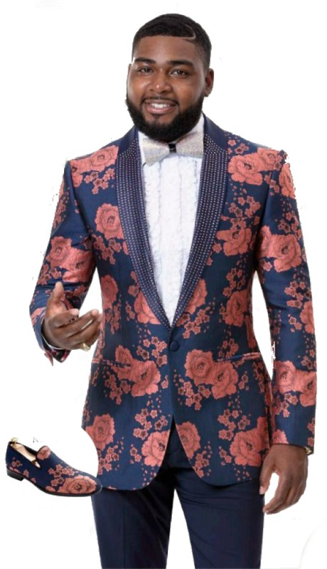 EJ Samuel J73 ( 1pc Mens One Button Blazer WIth Flower Print )