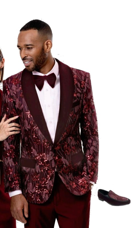 EJ Samuel J76 ( 1pc Mens One Button Blazer With Wine Shawl Lapel )