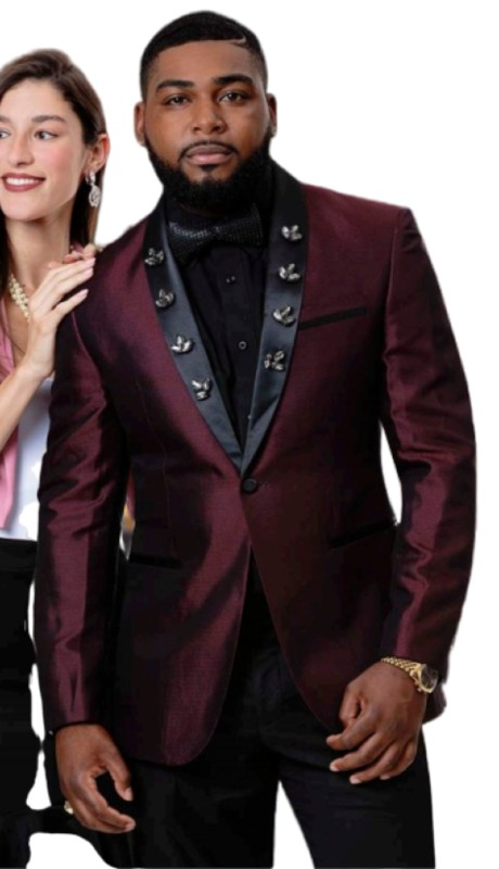 EJ Samuel J77 ( 1pc Mens One Button Blazer WIth Black Shawl Lapel )