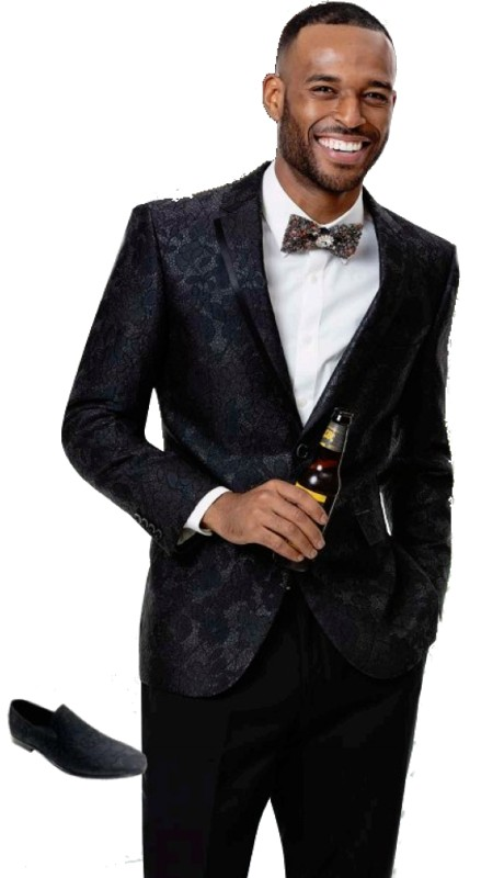 EJ Samuel J78 ( 1pc Mens One Button Blazer WIth Black Shawl  Lapel )