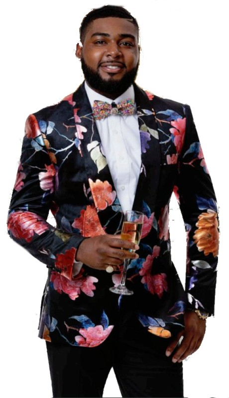 EJ Samuel J79 ( 1pc Mens One Button Blazer WIth Flower Shawl Lapel )