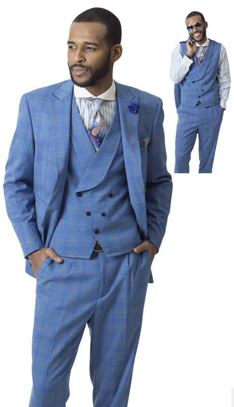 EJ Samuel M2709 ( 3pc Checkered Mens Fashion Suit)