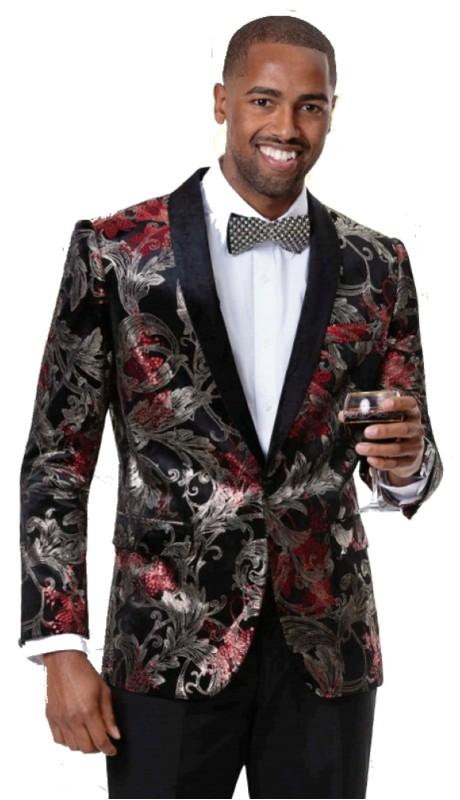 EJ Samuel J80 ( 1pc Mens One Button Blazer With Black Lapel )