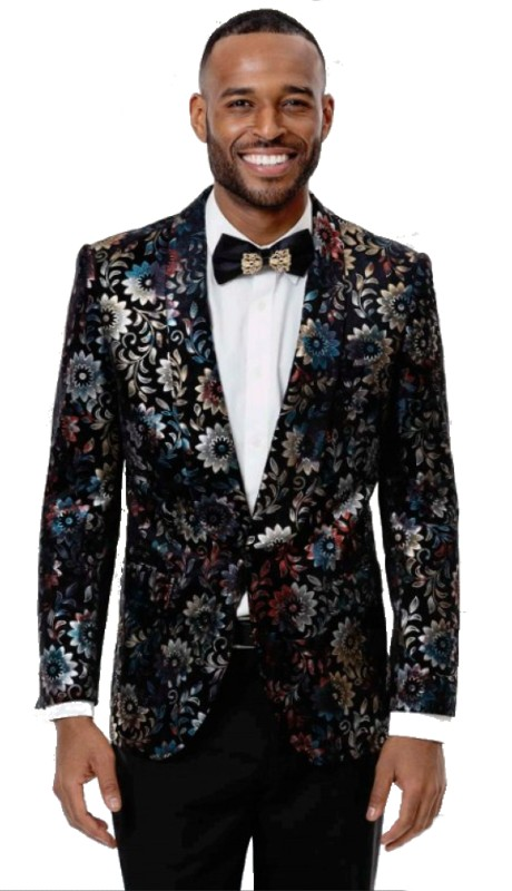 EJ Samuel J81 ( 1pc Mens One Button Blazer WIth Multi Flower Lapel )