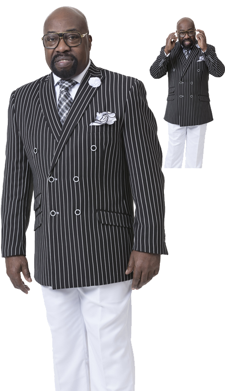 EJ Samuel M2707 ( 2pc Double Breasted Mens Suit With Bankers Stripe )