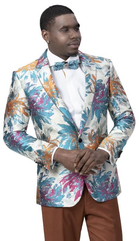 EJ Samuel J108 ( 1pc One Button Fashion Jacket With Notch Lapel )
