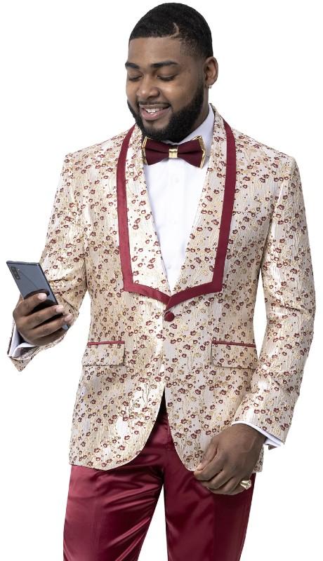 EJ Samuel J109 ( 1pc One Button Fashion Jacket With Shawl Lapel )
