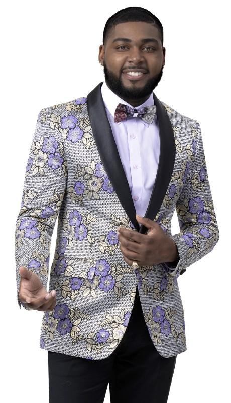 EJ Samuel J110 ( 1pc One Button Floral Blazer With Shawl Lapel )