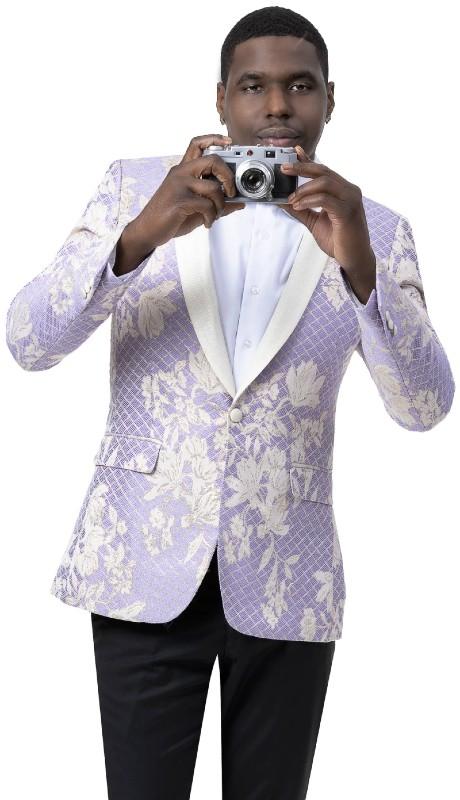 EJ Samuel J111 ( 1pc One Button Fashion Jacket With Shawl Lapel )
