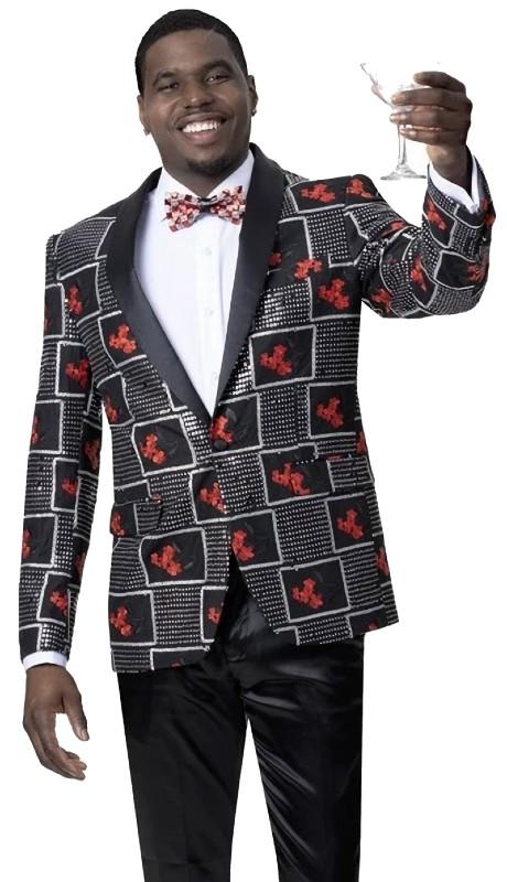 EJ Samuel J88 ( 1pc One Button Fashion Jacket With Peak Lapel )