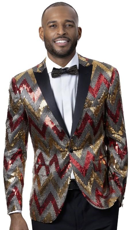 EJ Samuel J90 ( 1pc One Button Fashion Jacket With Peak Lapel )