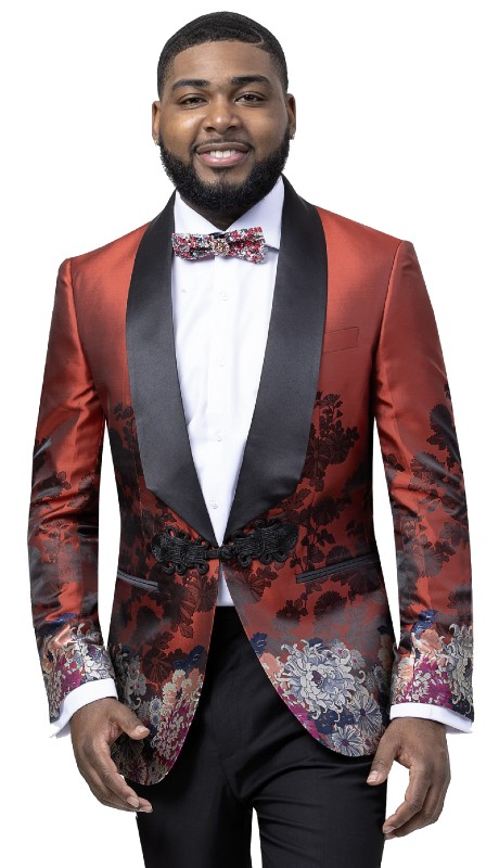 EJ Samuel J94 ( 1pc One Button Floral Blazer With Shawl Lapel )