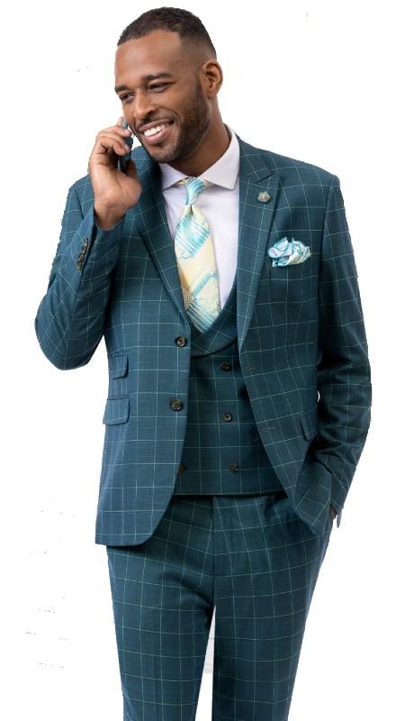 EJ Samuel M2745 ( 3pc Two Button Peak Lapel Suit With Vest And Pants, Super 140's )