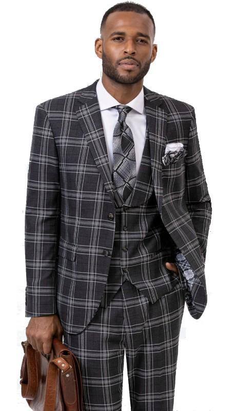 EJ Samuel M2747 ( 3pc Two Button Notch Lapel Suit With Vest And Pants, Super 140's )
