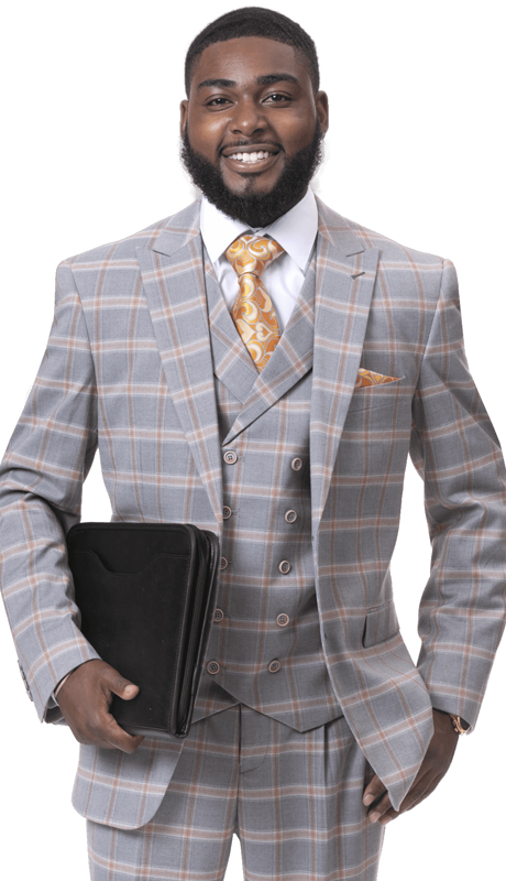 EJ Samuel M2720-GO ( 3pc Checkered Mens Fashion Suit, Super 140's )