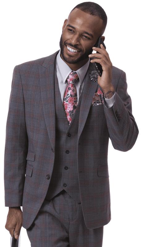 EJ Samuel M2718-DGB ( 3pc Checkered Mens Fashion Suit, Super 140's )