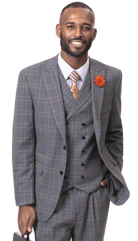 EJ Samuel M2717-GO ( 3pc Checkered Mens Fashion Suit, Super 140's )