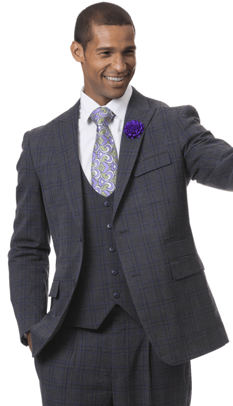 EJ Samuel M2716-CP ( 3pc Mens Checkered Fashion Suit, Super 140's )