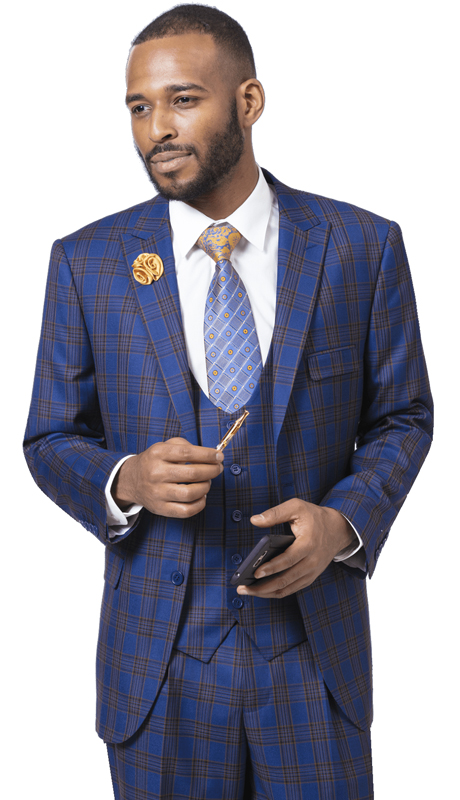 EJ Samuel M2715-BG  ( 3pc Checkered Mens Fashion Suit, Super 140's )
