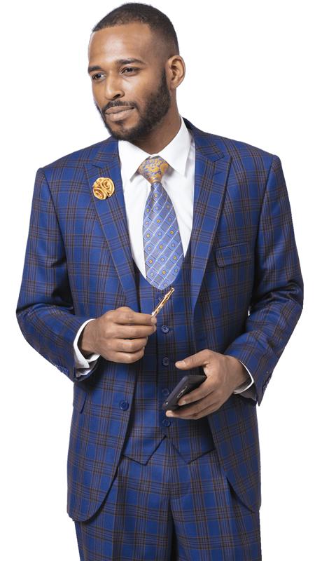 EJ Samuel M2715-BG  ( 3pc Checkered Mens Fashion Suit, Super 140's )