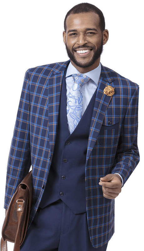 EJ Samuel M2714-BL ( 3pc Checkered Mens Fashion Suit, Super 140's )