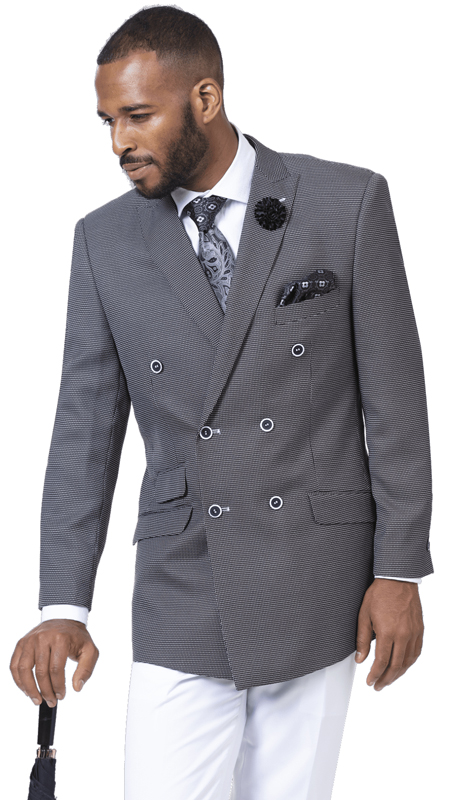 EJ Samuel M2702-BK-IH ( 2pc Double Breasted Mens Suit )