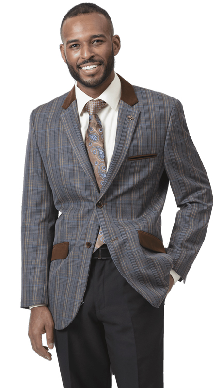 EJ Samuel J05-BR ( 1pc Mens Checkered Fashion Blazer With Brown Lapels )