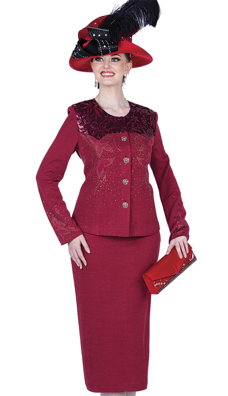 Elite Champagne 4954-BU ( 2pc Exclusive Knit Ladies Sunday Suit )