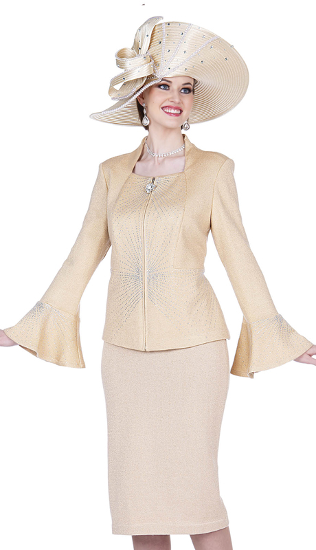 Elite Champagne 5352-LG ( 2pc Exclusive Knit First Lady Suit )