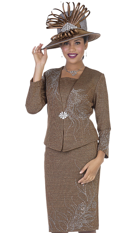 Elite Champagne 5158-BR ( 3pc Exclusive Knit Womens Church Suit )
