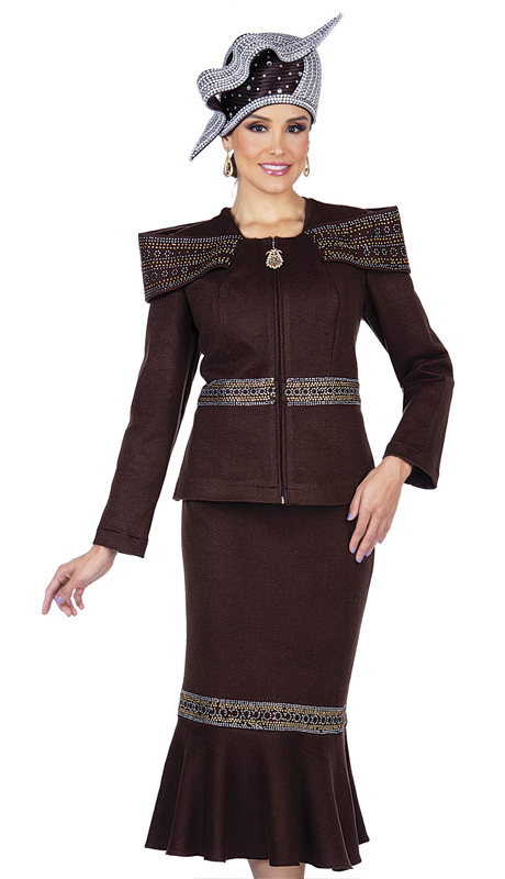Elite Champagne 5355-BR ( 2pc Exclusive Knit Womens Church Suit )