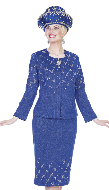 Elite Champagne 5160-RB  ( 2pc Exclusive Knit Ladies Church Suit )