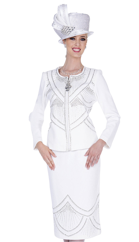 Elite Champagne 5356-OW ( 2pc Exclusive Knit Womens Sunday Suit )
