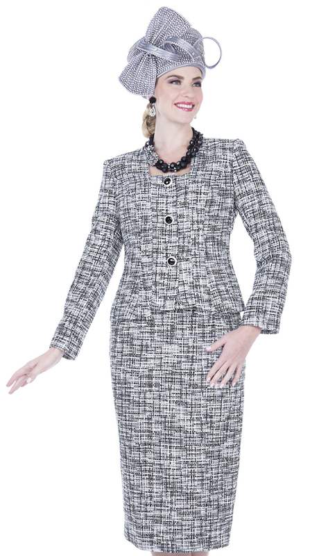 Elite Champagne 5252-WB ( 2pc Boucle Knit Womens Church Suit )