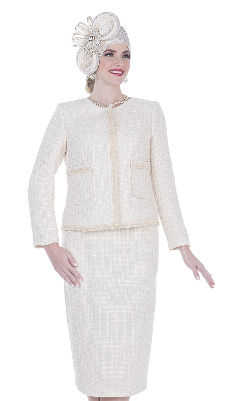 Elite Champagne 5253-BE ( 2pc Brocade Knit Ladies Church Suit )