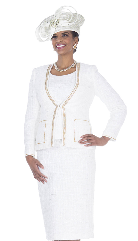 Elite Champagne 5254-OW ( 3pc Boucle Knit Womens First Lady Suit )