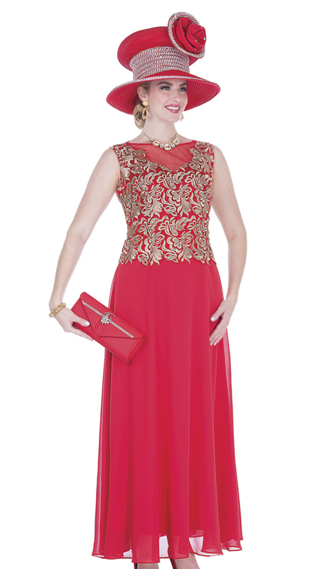Elite Champagne 5259-RG ( 1pc Chiffon Ladies Formal Dress With Metallic Lace )