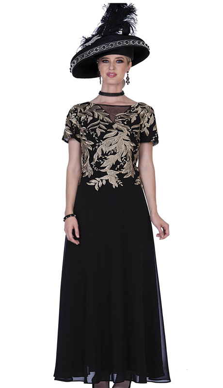 Elite Champagne 5260-BG ( 1pc Chiffon Ladies Formal Dress With Metallic Lace )