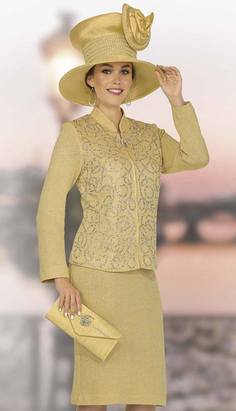 Elite Champagne 4866 ( 2pc Exclusive Knit Women Church Suit Zipper Front Jacket And Swirl Pattern With Skirt )