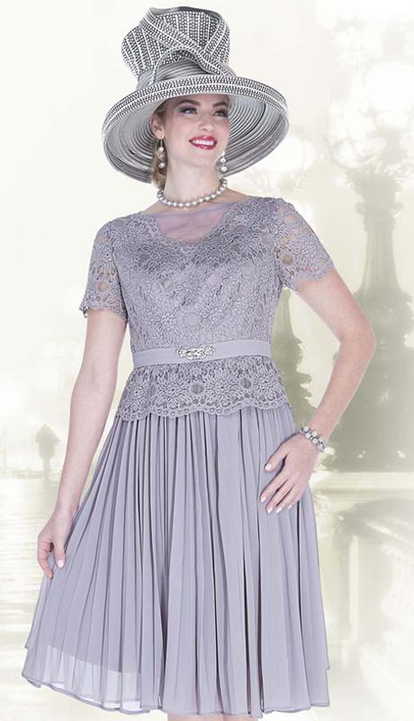 Elite Champagne 5262 ( 1pc Novelty Lace Dress With Chiffon Ladies Church Dress )