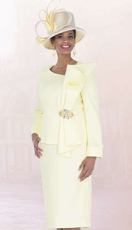 Elite Champagne 5271 ( 2pc Exclusive Renova Womens Church Suit With Ruffle Jacket And Rhinestone Brooch )
