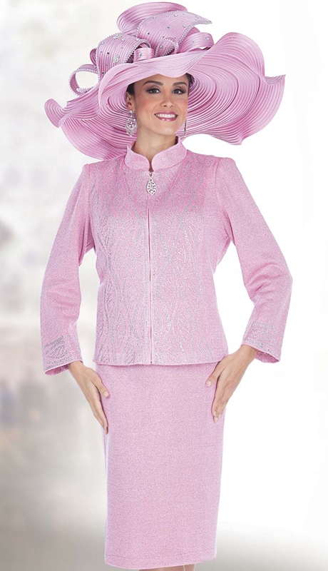Elite Champagne 5151 ( 2pc Exclusive Knit Womens Church Suit With Zipper Font Jacket And Skirt, Rhinestone Pattern )
