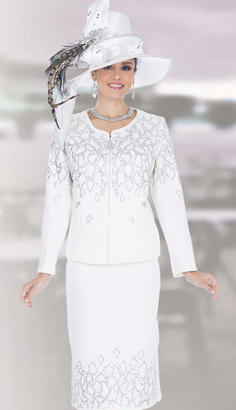 Elite Champagne 5159 ( 2pc Exclusive Knit Ladies Church Suit With Zipper Front Jacket And Skirt With Leaf-like Pattern In Rhinestones )
