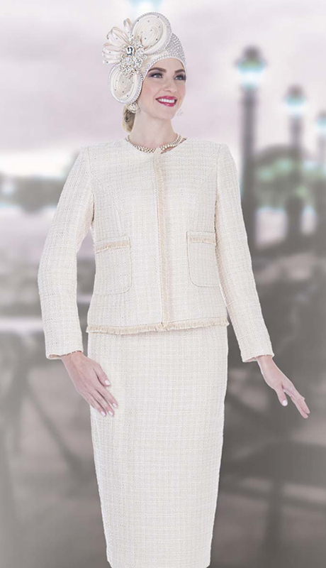 Elite Champagne 5253 ( 2pc Exclusive Knit Church Suit For Ladies With Jacket And Skirt )