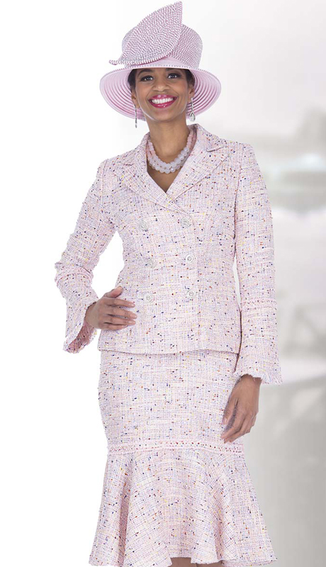 Elite Champagne 5255 ( 2pc Exclusive Knit Church Suit For Ladies With Ruffle Hem Flounce Skirt )