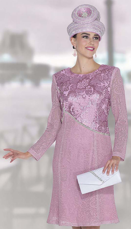 Elite Champagne 5055 ( 1pc Exclusive Knit Ladies Church Suit Dress With Floral Print )