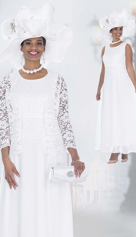 Elite Champagne 5263 ( 2pc Floral Lace And Chiffon Flounce Dress With Jacket For Church )