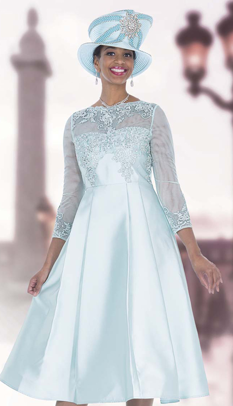 Elite Champagne 5257 ( 1pc Exclusive Lace And Satin Dress With Beaded Illusion Neck Long Sleeve For the First Lady )